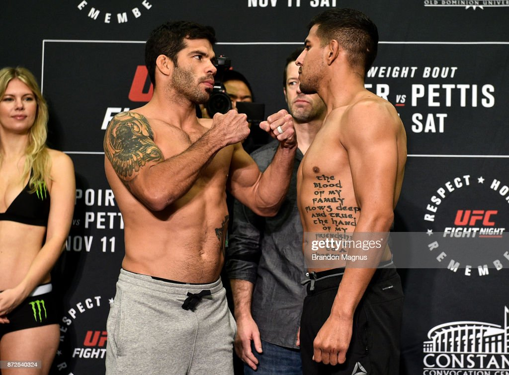 Raphael Assuncao of Brazil and Matthew Lopez face off during the UFC Fight Night Weigh-in on November 10, 2017 in Norfolk, Virginia.