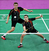 Raphael Beck and Andreas Heinz of Germany compete in the Badminton Men's Doubles Semifinal match against Mathias Boe and Carsten Mogensen of Denmark...