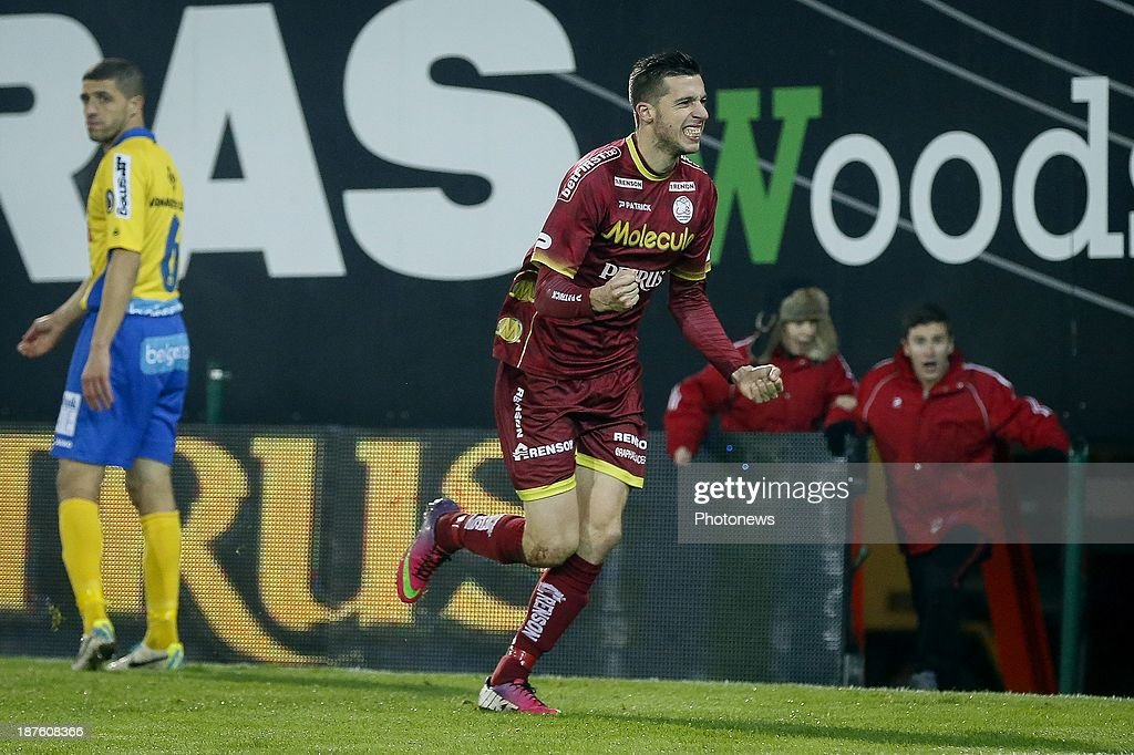 Raphael Caceres of Zulte Waregem celebrating his goal during the Jupiler Pro League match between Zulte Waregem and Waasland Beveren on November 10, 2013 in Waregem, Belgium.