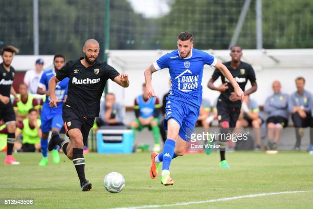 Raphael Careers of Troyes and John Bostock of Lens during the pre season friendly match between RC Lens and ESTAC Troyes on July 12 2017 in Itancourt...