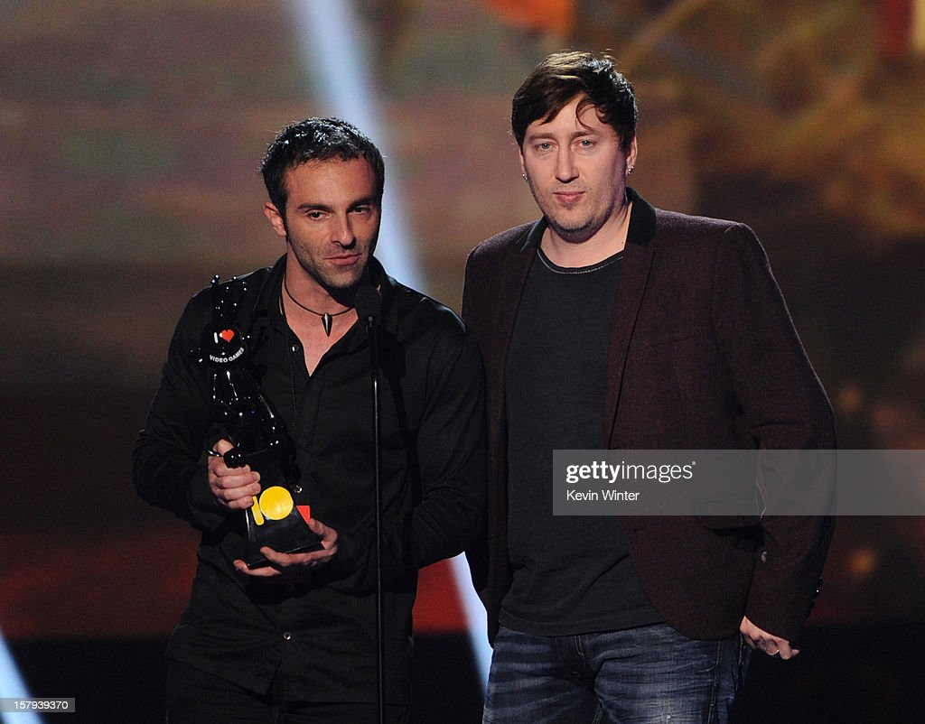 Raphael Colantonio (L) and Harvey Smith accept the award for Best Action Adventure Game onstage during Spike TV's 10th annual Video Game Awards at Sony Pictures Studios on December 7, 2012 in Culver City, California.
