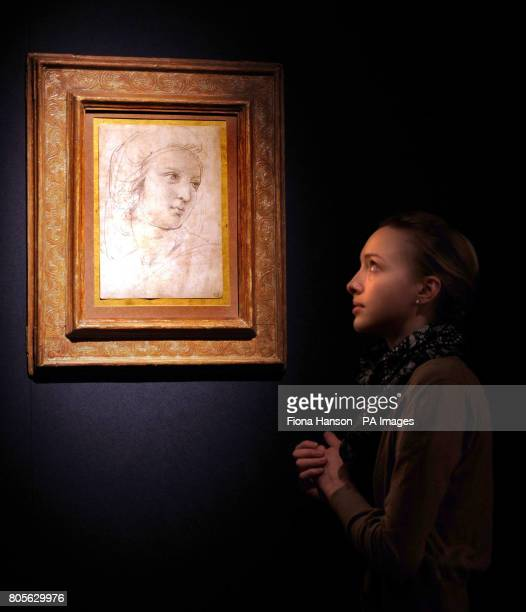 A Raphael drawing Head of a Muse not seen in public for 50 years estimated at 12Million to 16 million on display at Christie's in London where it is...