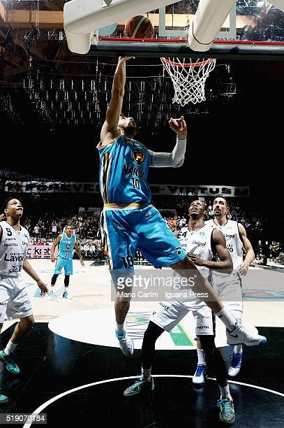 Raphael Gaspardo of Vanoli competes with Abdul Gaddy and Rod Odom and Valerio Mazzola of Obiettivo Lavoro during the LegaBasket match between Virtus...