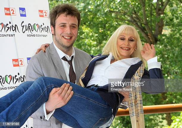 Raphael Gualazzi and Raffaella Carra attend the 'Eurovision Song Contest 2011' photocall at Circolo Sportivo RAI on May 4 2011 in Rome Italy