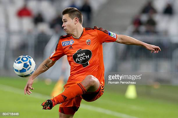 Raphael Guerreiro for Lorient in action during the French League Cup quarter final between Bordeaux and Lorient at Stade Matmut Atlantique on January...