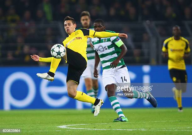 Raphael Guerreiro of Borussia Dortmund controlls the ball during the UEFA Champions League Group F match between Borussia Dortmund and Sporting Clube...