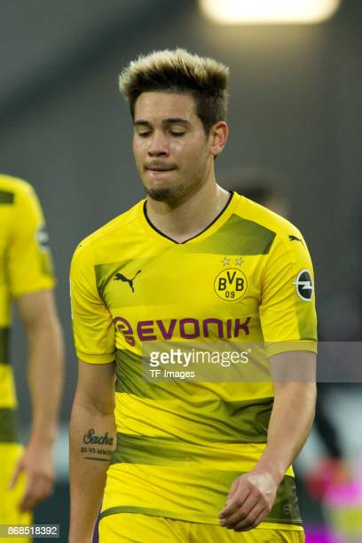 Raphael Guerreiro of Borussia Dortmund looks dejected after the German Bundesliga match between Hannover 96 v Borussia Dortmund at the HDI Arena on...