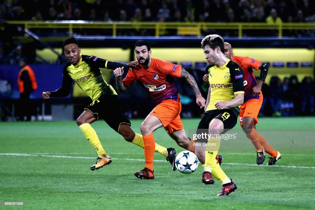 Raphael Guerreiro of Borussia Dortmund scores his sides first goal during the UEFA Champions League group H match between Borussia Dortmund and APOEL Nikosia at Signal Iduna Park on November 1, 2017 in Dortmund, Germany.