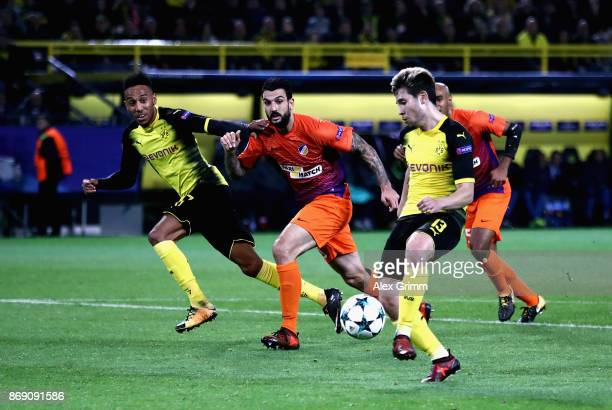 Raphael Guerreiro of Borussia Dortmund scores his sides first goal during the UEFA Champions League group H match between Borussia Dortmund and APOEL...