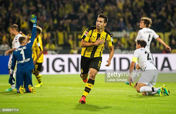 Raphael Guerreiro of Dortmund celebrates his goal for 31 during the Bundesliga match between Borussia Dortmund and SC Freiburg at Signal Iduna Park...