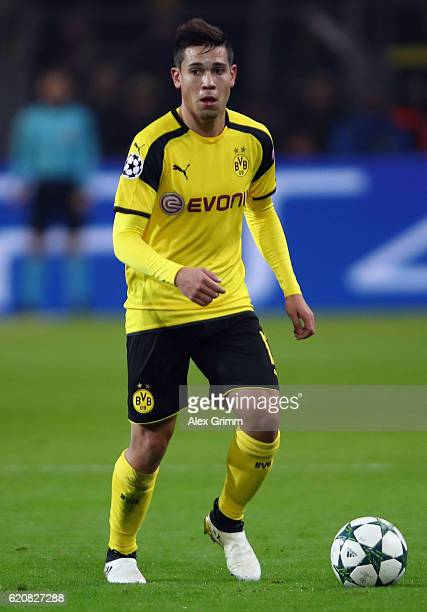 Raphael Guerreiro of Dortmund controles the ball during the UEFA Champions League Group F match between Borussia Dortmund and Sporting Clube de...