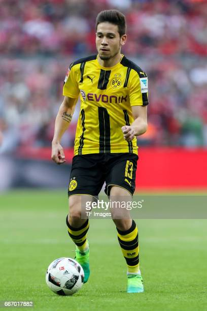 Raphael Guerreiro of Dortmund controls the ball during the Bundesliga match between Bayern Muenchen and Borussia Dortmund at Allianz Arena on April 8...