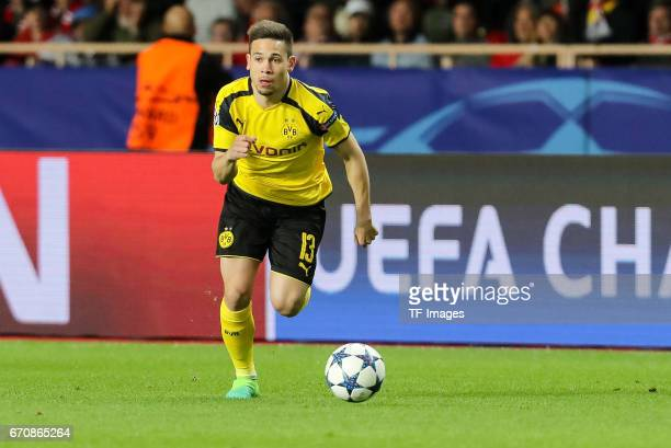 Raphael Guerreiro of Dortmund controls the ball during the UEFA Champions League quarter final second leg match between AS Monaco and Borussia...