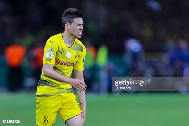 Raphael Guerreiro of Dortmund looks on during the DFB Cup final match between Eintracht Frankfurt and Borussia Dortmund at Olympiastadion on May 27...