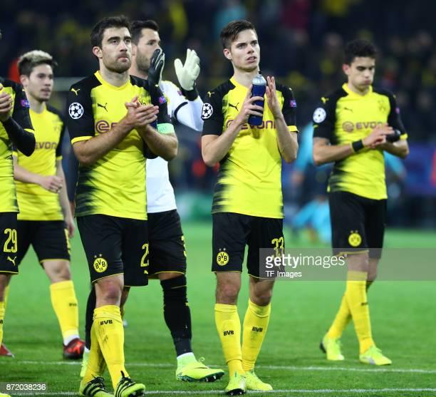 Raphael Guerreiro of Dortmund Sokratis Papastathopoulos of Dortmund Roman Bürki of Dortmund Julian Weigl of Dortmund and Marc Bartra Aregall of...