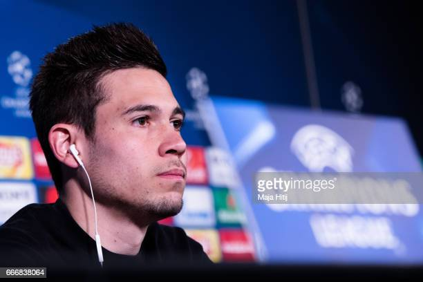Raphael Guerreiro of Dortmund speaks during a press conference prior the UEFA Champions League Quarter Final First Leg match between Borussia...