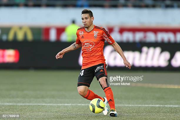 Raphael Guerreiro of Lorient during the French Ligue 1 between Lorient and Toulouse at Stade du Moustoir on April 16 2016 in Lorient France