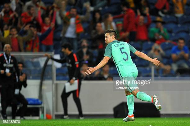 Raphael Guerreiro of Portugal celebrates after scoring the second goal against Norway during the International Friendly match between Portugal and...
