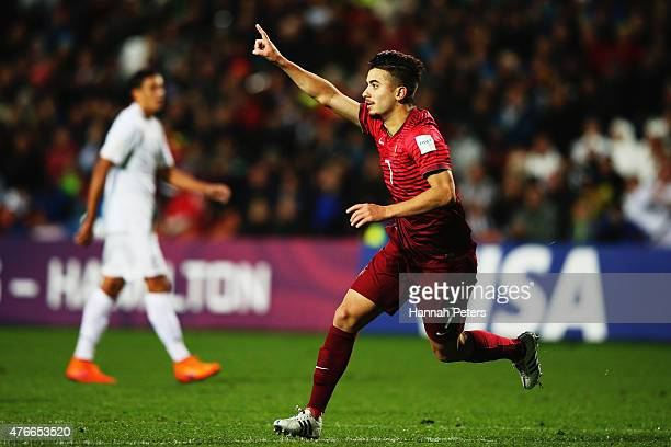Raphael Guzzo of Portugal celebrates after scoring a goal during the FIFA U20 World Cup New Zealand 2015 Round of 16 match between Portugal and New...
