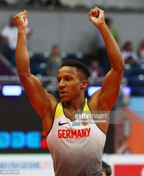 Raphael Holzdeppe of Germany celebrates after clearing the bar during the Men's Pole Vault final on day one of the 2017 European Athletics Indoor...