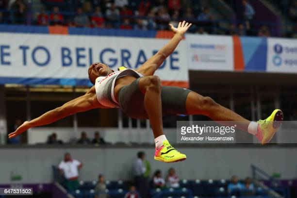 Raphael Holzdeppe of Germany competes in the Men's Pole Vault final on day one of the 2017 European Athletics Indoor Championships at the Kombank...