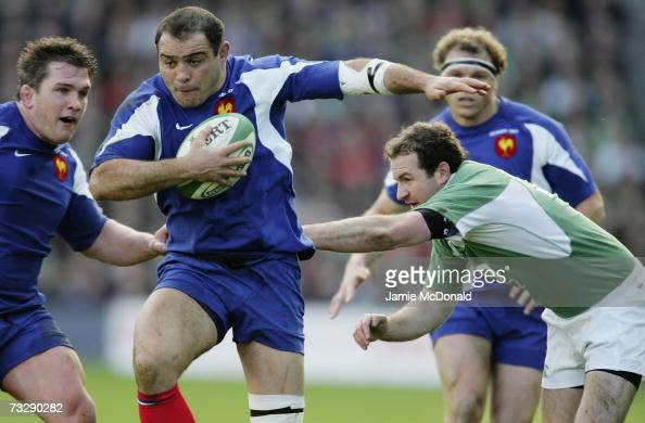 Raphael Ibanez of France goes past Geordan Murphy of Ireland during the RBS Six Nations Championship match between Ireland and France at Croke Park...