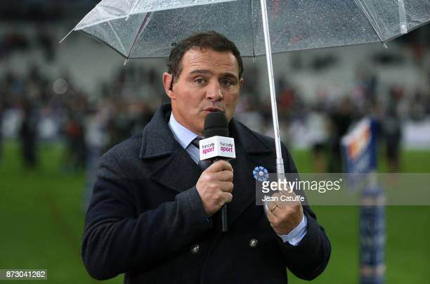 Raphael Ibanez of France Televisions comments the autumn international rugby match between France and New Zealand at Stade de France on November 11...