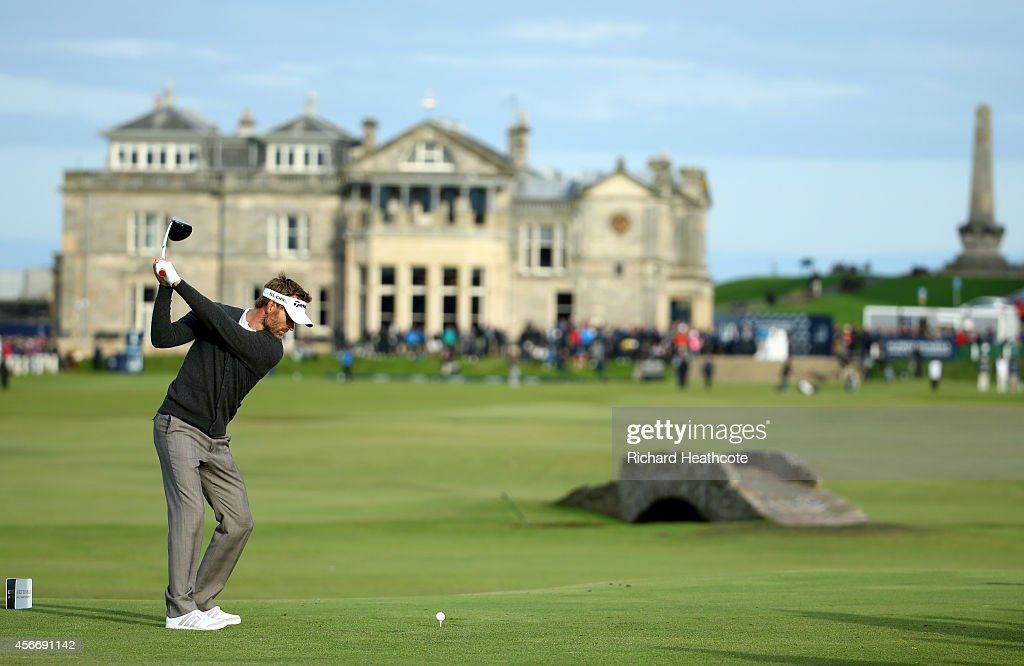 Raphael Jacquelin of France drives off the 18th tee during the final round of the 2014 Alfred Dunhill Links Championship at The Old Course on October...
