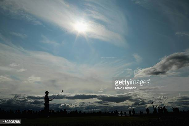 Raphael Jacquelin of France hits a tee shot on the tenth hole during the final round of the Aberdeen Asset Management Scottish Open at Gullane Golf...
