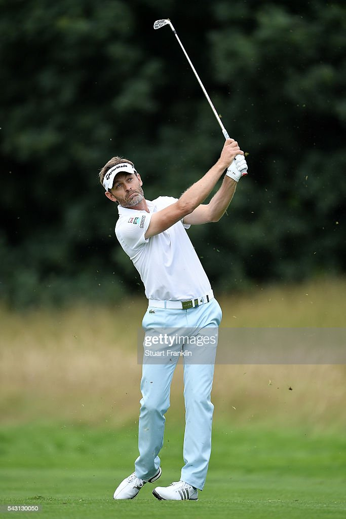 <a gi-track='captionPersonalityLinkClicked' href=/galleries/search?phrase=Raphael+Jacquelin&family=editorial&specificpeople=208683 ng-click='$event.stopPropagation()'>Raphael Jacquelin</a> of France hits an approach shot during the final round of the BMW International Open at Gut Larchenhof on June 26, 2016 in Cologne, Germany.