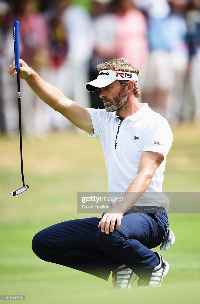Raphael Jacquelin of France lines up a putt during the final round of the Omega European Masters at CranssurSierre Golf Club on July 26 2015 in...