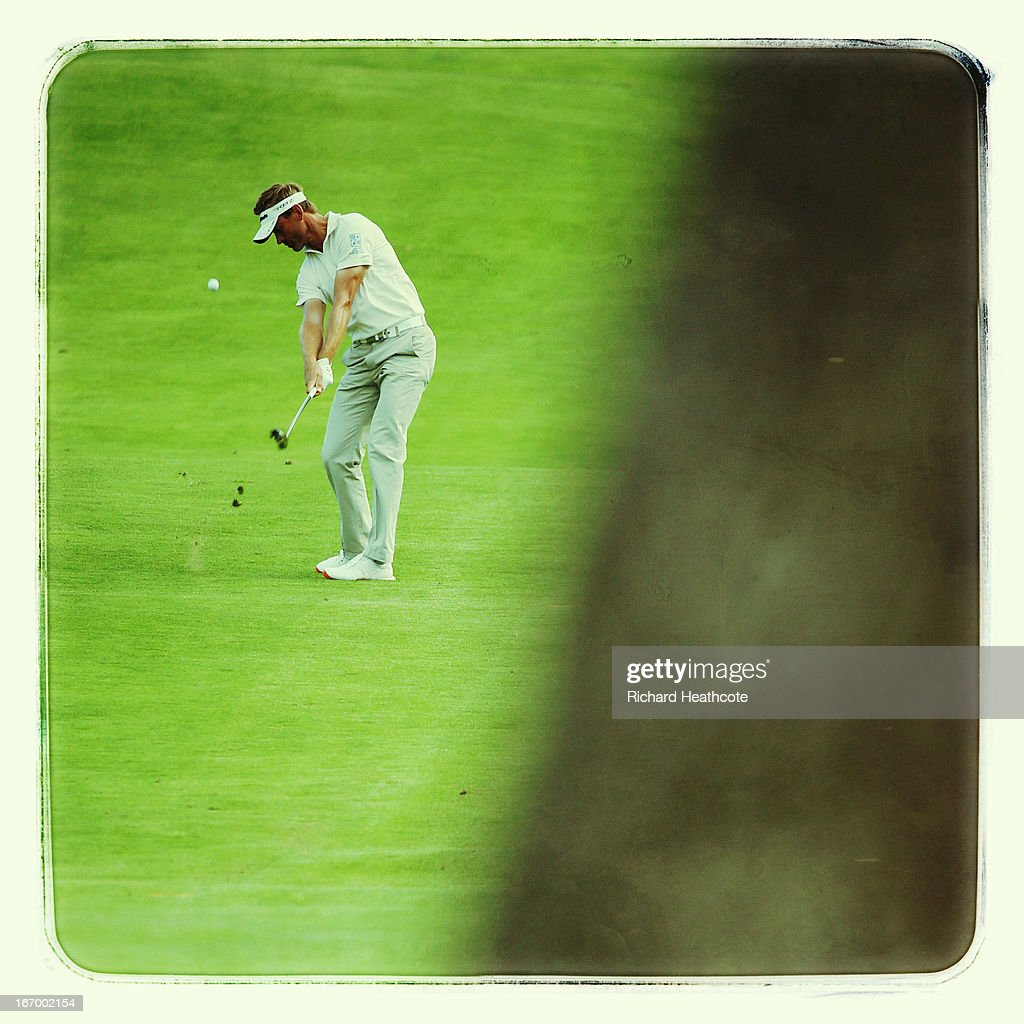 Raphael Jacquelin of France plays into the 15th green during the second round of the Open de Espana at Parador de El Saler on April 19 2013 in...