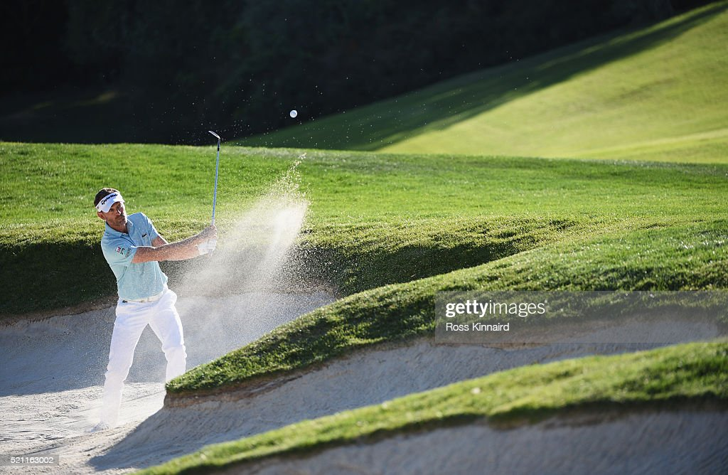 Raphael Jacquelin of France plays out of a bunker during day one of the Open de Espana at Real Club Valderrama on April 14 2016 in Sotogrande Spain
