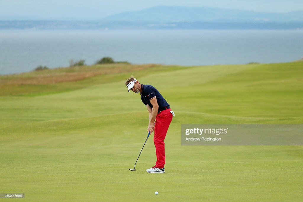 Raphael Jacquelin of France putts on the 15th green during the third round of the Aberdeen Asset Management Scottish Open at Gullane Golf Club on...