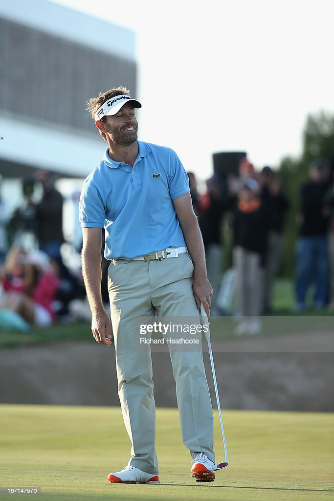 Raphael Jacquelin of France reacts as he holes a putt on the 9th playoff to win during the final round of the Open de Espana at Parador de El Saler...