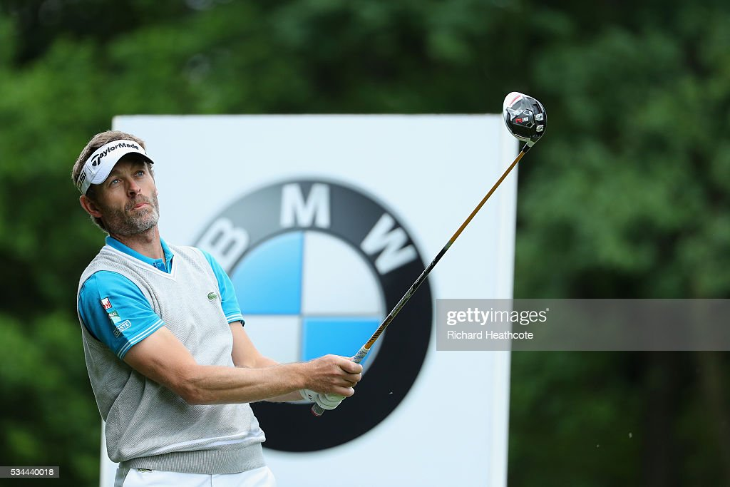 Raphael Jacquelin of France tees off during day one of the BMW PGA Championship at Wentworth on May 26, 2016 in Virginia Water, England.