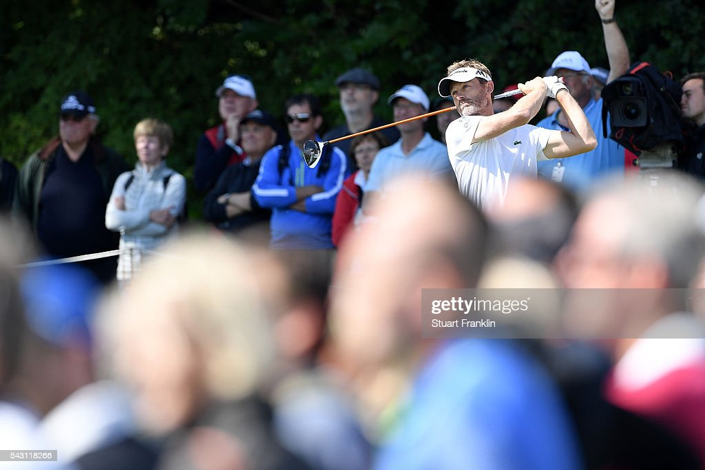 <a gi-track='captionPersonalityLinkClicked' href=/galleries/search?phrase=Raphael+Jacquelin&family=editorial&specificpeople=208683 ng-click='$event.stopPropagation()'>Raphael Jacquelin</a> of France tees off during the rain delayed third round of the BMW International Open at Gut Larchenhof on June 26, 2016 in Cologne, Germany.