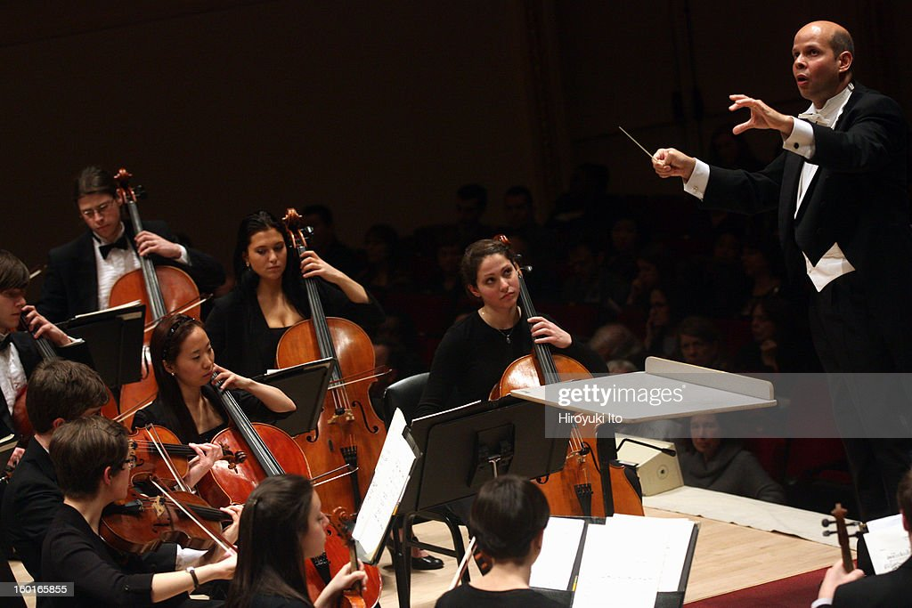 Raphael Jimenez leading the Oberlin Orchestra at Carnegie Hall on Saturday night, January 19, 2013.This image:Raphael Jimenez leading the Oberlin Orchestra in Stravinsky's 'The Firebird.'