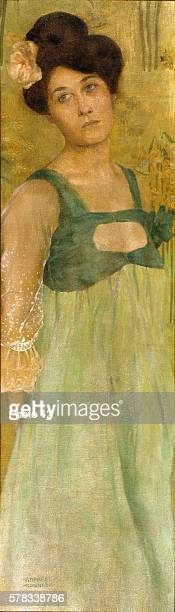 Raphael Kirchner Austrian school Young lady green background Oil on canvas Private collection