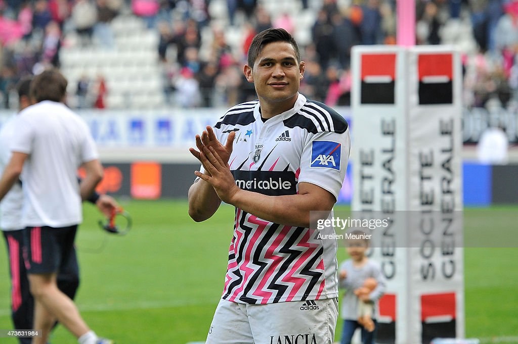 <a gi-track='captionPersonalityLinkClicked' href=/galleries/search?phrase=Raphael+Lakafia&family=editorial&specificpeople=7183172 ng-click='$event.stopPropagation()'>Raphael Lakafia</a> of Stade Francais reacts after the victory during the Top 14 game between Stade Francais and Montpellier at Stade Jean Bouin on May 16, 2015 in Paris, France.