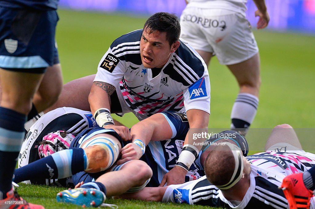 <a gi-track='captionPersonalityLinkClicked' href=/galleries/search?phrase=Raphael+Lakafia&family=editorial&specificpeople=7183172 ng-click='$event.stopPropagation()'>Raphael Lakafia</a> of Stade Francais reacts during the semi finals of the top 14 game between Stade Francais and Racing Metro 92 at Stade Jean Bouin on May 29, 2015 in Paris, France.