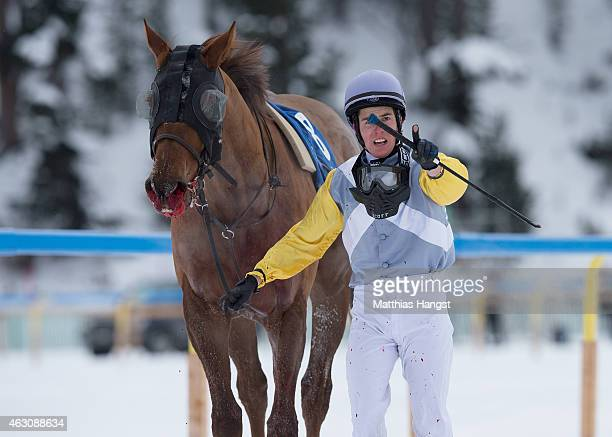 Raphael Lingg an his injured horse Reaffirmed seen after giving up during the GP Handels Gewerbeverein St Moritz Flat Race of the White Turf St...
