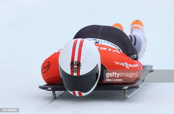 Raphael Maier of Austria competes during heat one of the Men's Skeleton at the Viessmann FIBT Bob Skeleton World Cup at the Olympia Bob Run on...