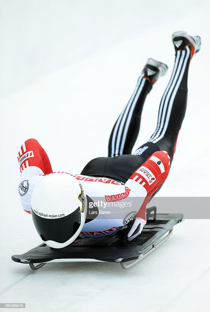 Raphael Maier of Austria competes during the man's skeleton first heat of the IBSF Bob & Skeleton World Championship at Olympia Bob Run on February 1, 2013 in St Moritz, Switzerland.