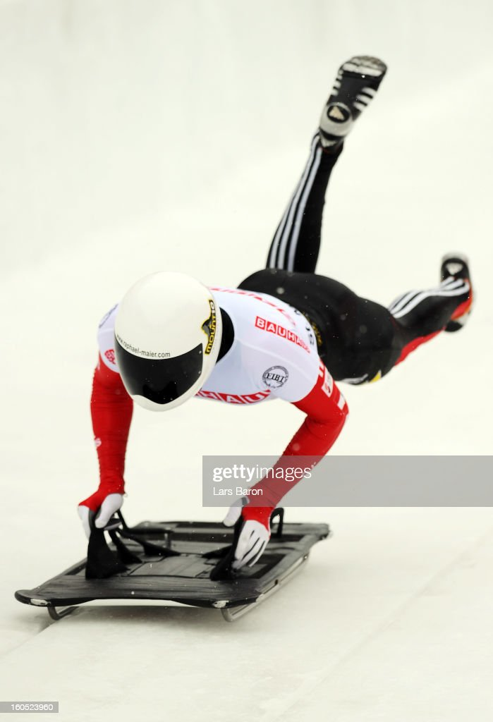 Raphael Maier of Austria competes during the man's skeleton third heat of the IBSF Bob & Skeleton World Championship at Olympia Bob Run on February 2, 2013 in St Moritz, Switzerland.