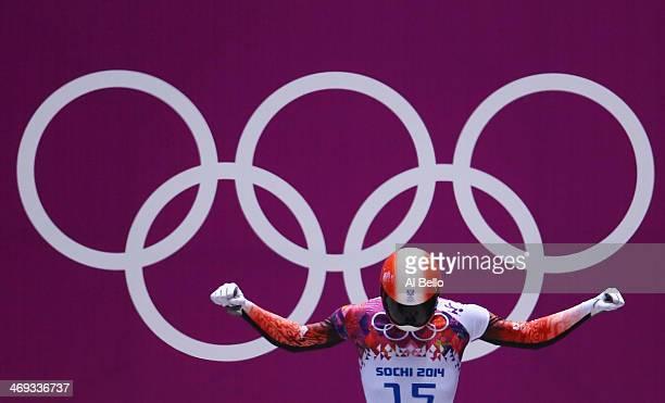 Raphael Maier of Austria prepares to start a run during the Men's Skeleton heats on Day 7 of the Sochi 2014 Winter Olympics at Sliding Center Sanki...