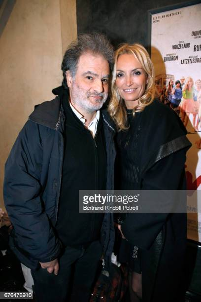 Raphael Mezrahi and actress of the movie Christelle Bardet attend the 'Vive la Crise' Paris Premiere at Cinema Max Linder on May 2 2017 in Paris...