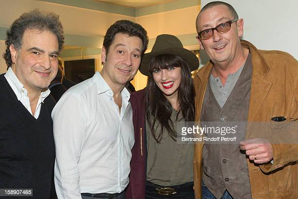 Raphael Mezrahi French impersonator Laurent Gerra Nolwenn Leroy and Olympia director Arnaud Delbarre pose inGerra's dressing room after attending...