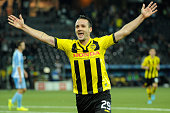 Raphael Nuzzolo of BSC Young Boys celebrates during the UEFA Europa League match between BSC Young Boys and SK Slovan Bratislava at the Stade de...