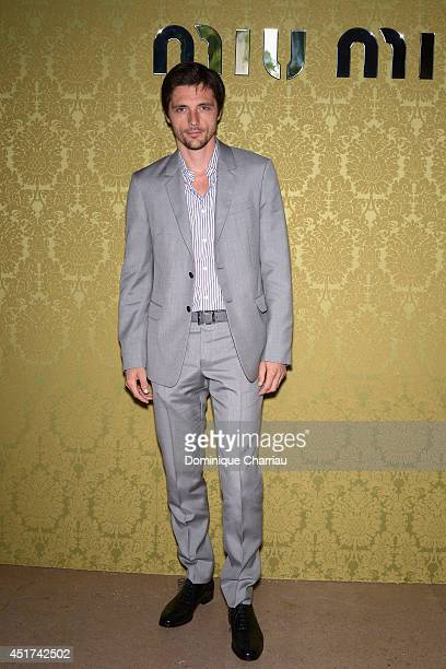 Raphael Personnaz attends the Miu Miu Resort Collection 2015 at Palais d'Iena on July 5 2014 in Paris France